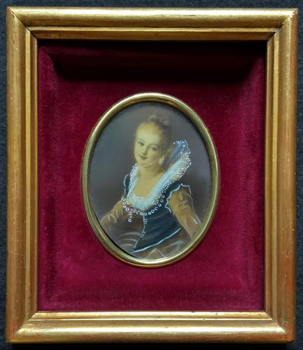 Lovely Original Vintage Miniature Portrait Oil Painting in 18th Century Manner (1 of 8)