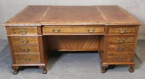 Antique Burr Walnut Partners Desk (1 of 12)