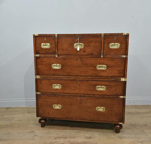 Antique Mahogany Campaign Military Chest Of Drawers (1 of 8)
