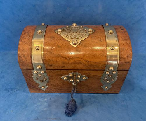 Victorian Brassbound Burr Walnut Stationary Box (1 of 11)