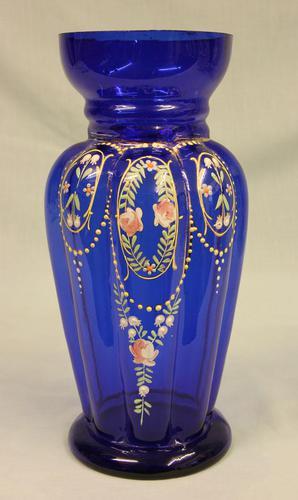Antique Bristol Blue Glass Decorated Vase (1 of 7)