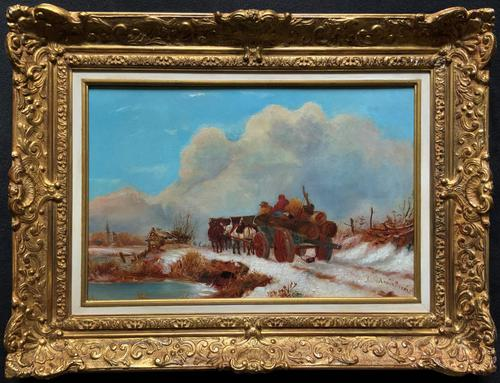 'The Loggers Return Home' Superb Antique Winter Landscape Oil on Canvas Painting (1 of 12)