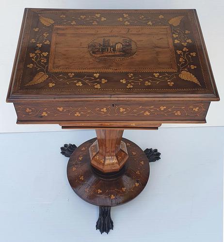 Rare 19th Century Marquetry Inlaid Irish Killarney Work Box or Table (1 of 13)