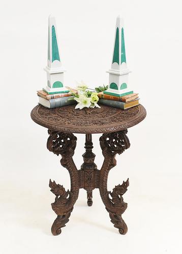 Burmese Side Table Antique Carved Burma Furniture (1 of 11)