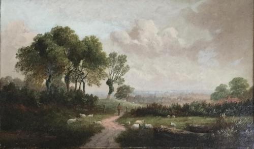 English School Oil Painting 'English Rural Landscape with Sheep' (1 of 3)