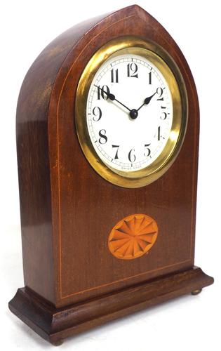 Solid Mahogany Lancet Cased Timepiece Clock with Satinwood Inlaid Decoration (1 of 9)