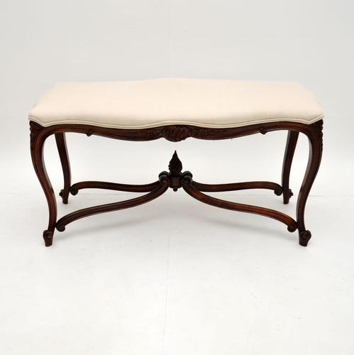 Antique French Carved Walnut Stool / Window Seat (1 of 8)