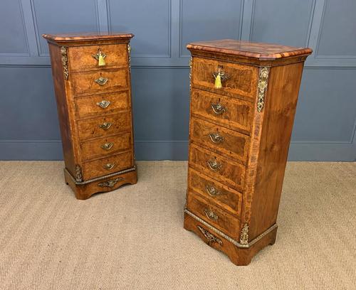 Pair of Victorian Burr Walnut Pillar Chests (1 of 18)