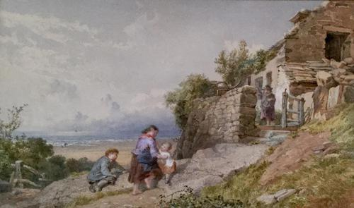 John Henry Mole Watercolour 'Cottage by the sea' (1 of 2)