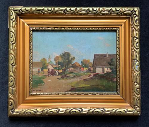 Josef Harencz Farmyard & Horses Landscape Oil Painting (1 of 10)