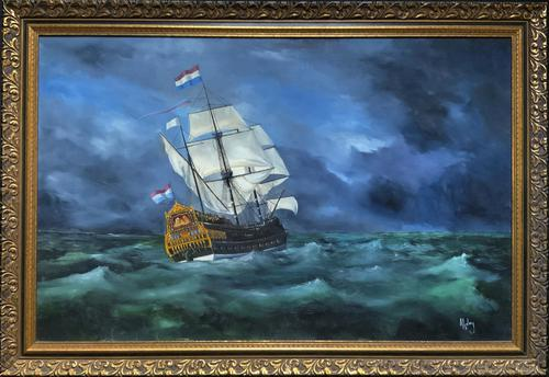 Huge Magnificent 20th Century Vintage Seascape Oil Painting - Battleship in Rough Sea (1 of 12)
