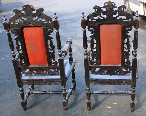 1900's Pair of Continenental Oak Carved Armchairs with Leather Seats (1 of 3)