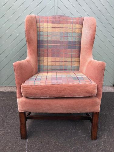 Antique English Mahogany Upholstered Wing Armchair (1 of 10)