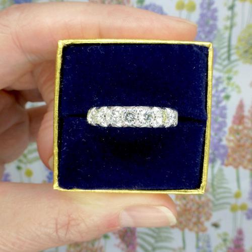 Vintage 18ct White Gold Seven Stone Diamond Half Eternity Wedding Band 0.85ct (1 of 9)