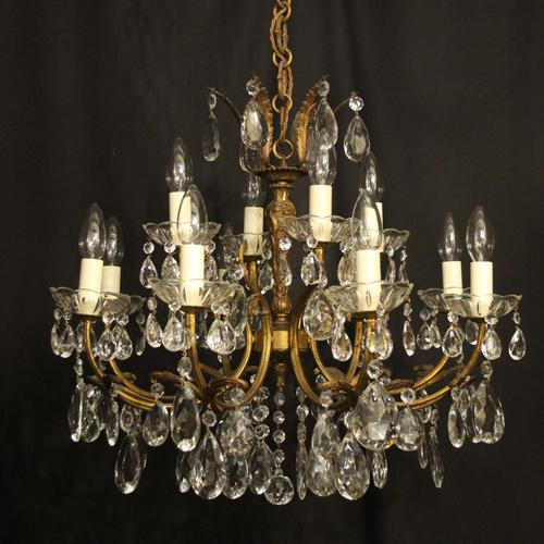 Italian Gilded 12 Light Double Tiered Antique Chandelier (1 of 10)