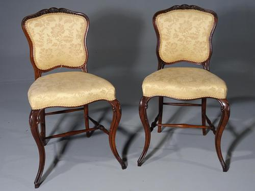 Elegant & Fine Quality Pair of Late 19th Century Rosewood Drawing Room Chairs (1 of 5)