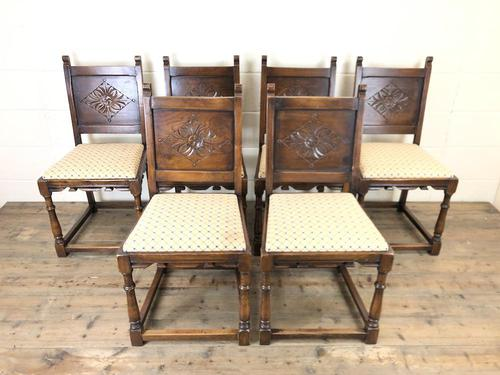 Set of Six Early 20th Century Antique Oak Dining Chairs (1 of 12)