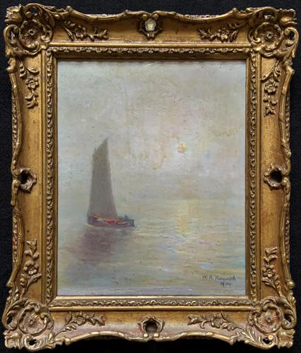 W. H. Renwick Small Edwardian Moonlit Sailing Seascape Oil Painting (1 of 11)