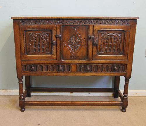 Antique Carved Oak Cupboard Side Table (1 of 14)