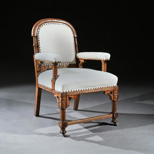 19th Century Oak Gothic Armchair By G Tilley Of Birmingham (1 of 10)