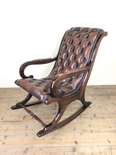 Brown Leather Chesterfield Style Rocking Chair (1 of 15)