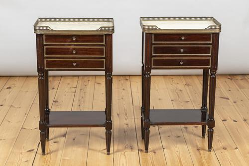 Pair of French Three Drawer Mahogany Bedside Cabinets (1 of 10)