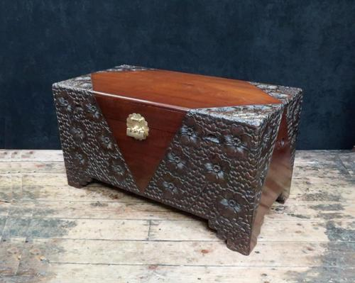 Early 20th Century Oriental Carved Teak and Camphor Wood Chest (1 of 11)