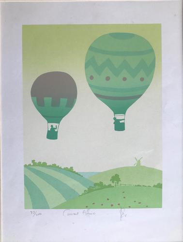 Original Screen Print 'Current Affaires' Ballooning. Signed. c.1980 (1 of 2)