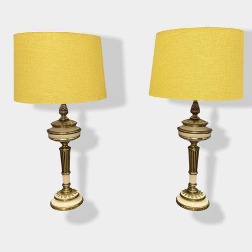 Pair of Enamel & Brass Lamps (1 of 6)
