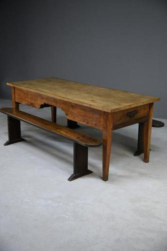 French Fruitwood Rustic Kitchen Table & Benches (1 of 15)