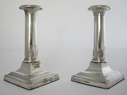 Stylish Pair of Thomas Bradbury & Son Silver Candlesticks (1 of 6)