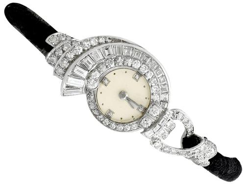 3.07ct Diamond Cocktail Watch in Platinum - Art Deco - French Antique c.1935 (1 of 12)