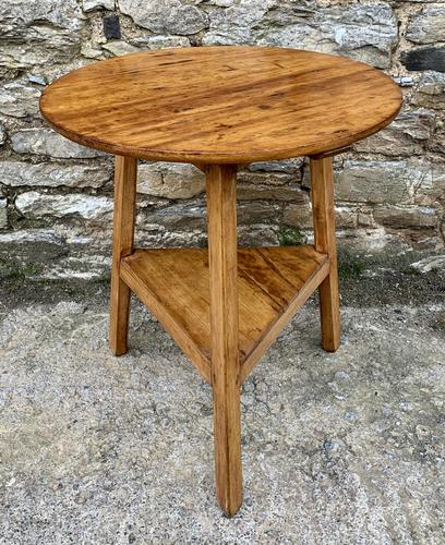 Antique Pine Cricket Table with Shelf (1 of 11)