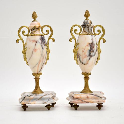 Pair of Antique French Marble & Gilt Bronze Urns (1 of 9)