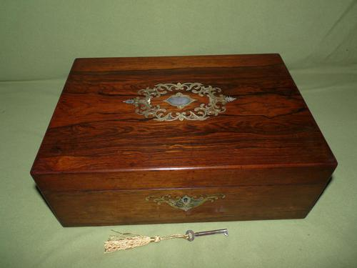 Inlaid Rosewood Writing Box - Extended Office Section c.1870 (1 of 16)