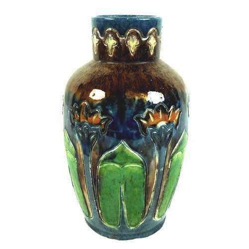 Art Nouveau Pottery Vase, with Stylised Flowers (1 of 5)