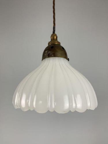 Moonstone Pendant Ceiling Light; Original Shade & Gallery; Rewired. (1 of 9)