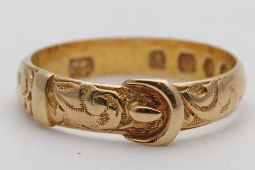 Victorian 18ct gold buckle ring 1874 (1 of 3)