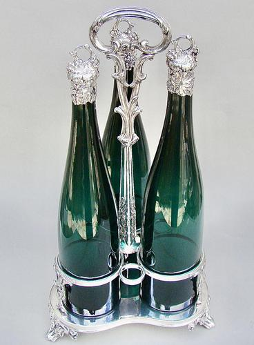 Fabulous Set of 3 Victorian Silver Mounted Bristol Green Glass Decanter By Henry Wilkinson & Co, Birmingham 1839 - in Original Silver Plated Stand (1 of 12)