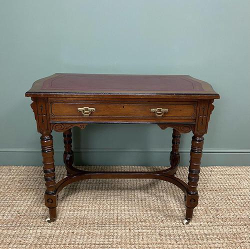 Quality Walnut Maple & Co Antique Writing Table (1 of 7)