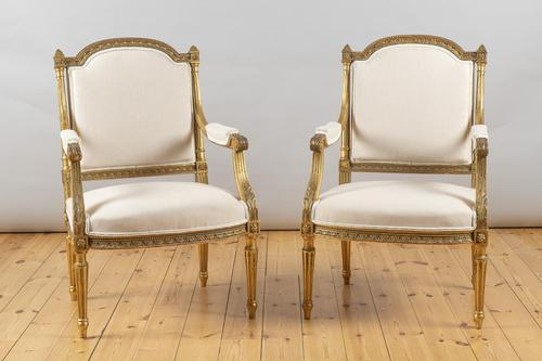 Pair of Large 19th Century Louis XV1 Style French Gilt Armchairs (1 of 10)