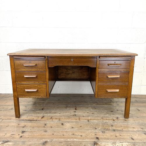 Early 20th Century Antique Oak Pedestal Desk (1 of 9)