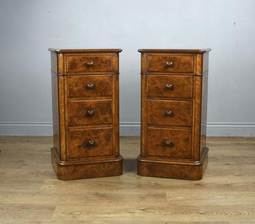 Stunning Pair of Burr Walnut Bedside Chests of Drawers (1 of 5)