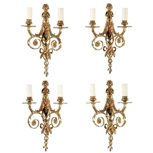 Set of Four Gilt Brass Wall Lights (1 of 8)