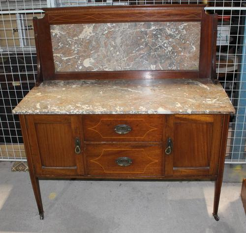 1940s Marble Top & Back Mahogany Washstand (1 of 3)