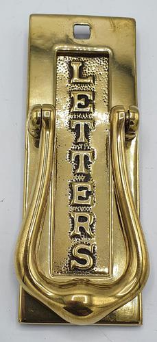 Original Edwardian Polished Brass Door Knocker or Letter Box (1 of 2)