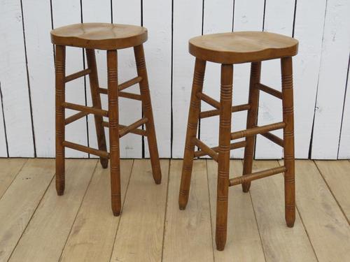 Pair of Oak Tall Bar Stools (1 of 8)