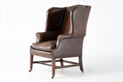 Late 19th Century Mahogany Leather Wing Chair (1 of 7)