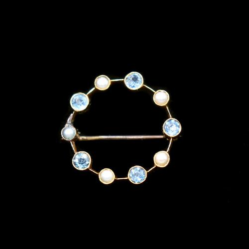 Antique Aquamarine and Pearl 9ct Yellow Gold Wreath Circle Brooch Pin (1 of 6)