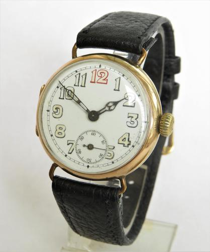 Gents 9ct gold trench watch, 1914 (1 of 6)